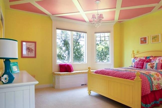 اتاق خواب زرد و صورتی خاص