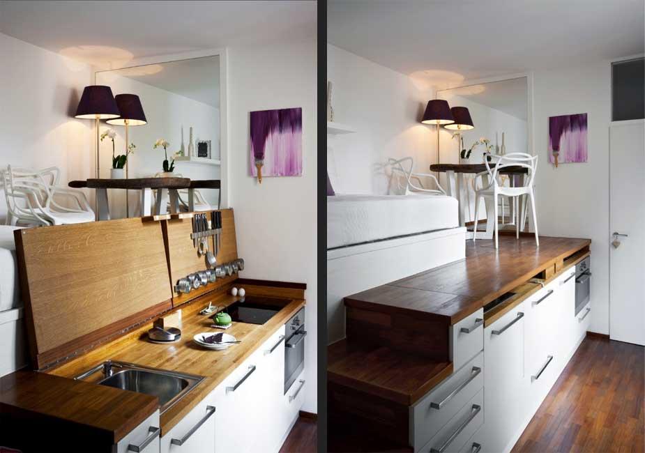 بستن روی سینک و گاز کابینت آشپزخانه کوچک