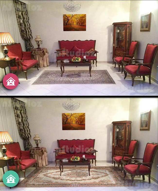 مقایسه سالن منزل با فرش کوچک 6 متری و 12 متری