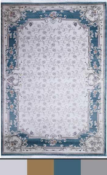 فرش با رنگبندی آبی و سفید و خاکستری