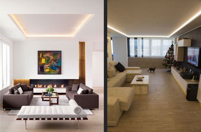 استفاده از نور مخفی در اتاق هایی با سقف کوتاه