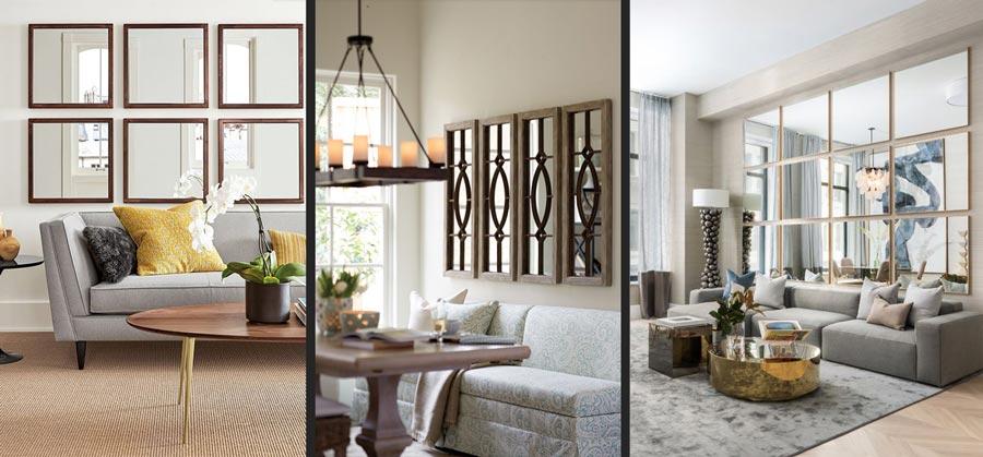 استفاده از آینه دیواری در اتاق هایی با نورگیری محدود