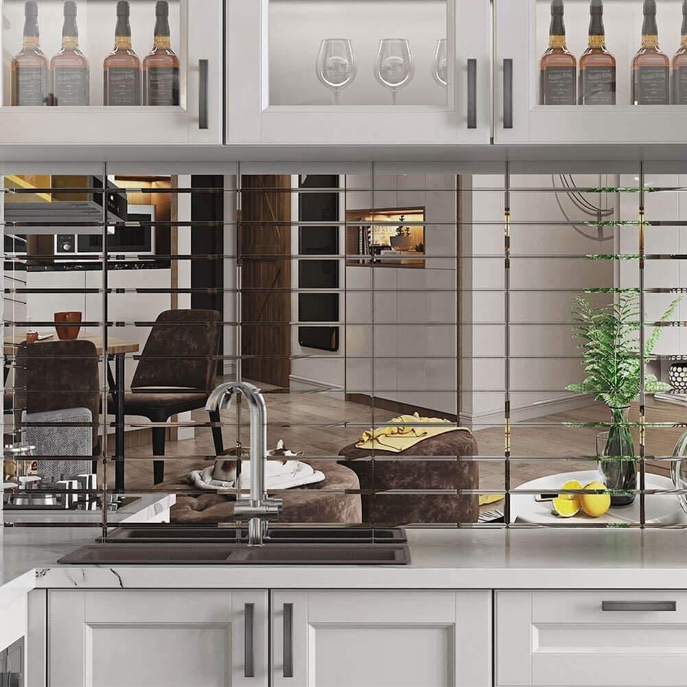 دیوار آشپزخانه از جنس آینه