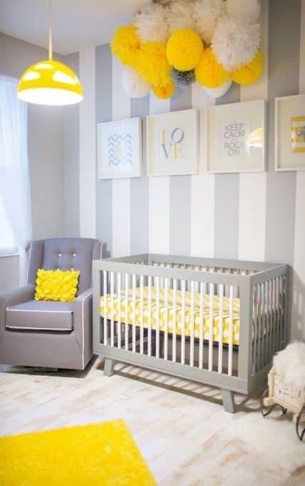 اتاق خواب خاکستری و زرد